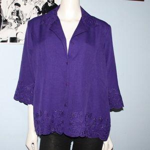 Vintage Purple Bon Worth Button up Top